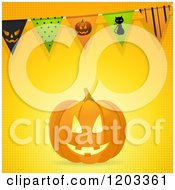 Clipart Of A Carved Halloween Pumpkin With Party Bunting Flags On Halftone Royalty Free Vector Illustration by elaineitalia