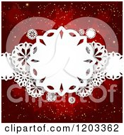 Clipart Of Paper Snowflakes Over Red Stars And Gold Sparkles Royalty Free Vector Illustration
