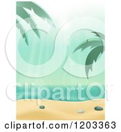 Clipart Of The Sun Shining Down On A Tropical Beach With Palm Tree And White Sand Royalty Free Vector Illustration