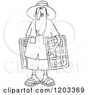 Cartoon Of An Outlined Man Carrying Lawn Chairs Royalty Free Vector Clipart
