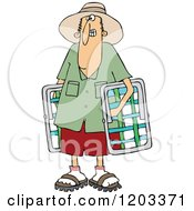 Cartoon Of A White Man Carrying Lawn Chairs Royalty Free Vector Clipart by djart