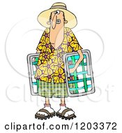 Cartoon Of A White Man In A Hawaiian Shirt Carrying Lawn Chairs Royalty Free Clipart