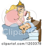 Chubby White Tooth Fairy Putting A Coin Under A Boys Pillow