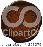Clipart Of A Thumb Up Approved Brown Wax Or Chocolate Seal Icon Royalty Free Vector Illustration