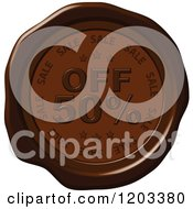Clipart Of A Fifty Percent Off Sale Brown Wax Or Chocolate Seal Icon Royalty Free Vector Illustration