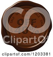 Clipart Of A Forty Percent Off Sale Brown Wax Or Chocolate Seal Icon Royalty Free Vector Illustration