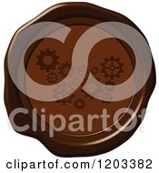 Clipart Of A Brown Wax Or Chocolate Gear Seal Icon Royalty Free Vector Illustration