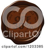 Clipart Of A Thirty Percent Off Sale Brown Wax Or Chocolate Seal Icon Royalty Free Vector Illustration