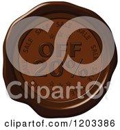 Twenty Percent Off Sale Brown Wax Or Chocolate Seal Icon