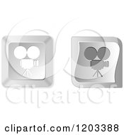 Clipart Of 3d Silver Movie Camera Keyboard Button Icons Royalty Free Vector Illustration by Andrei Marincas