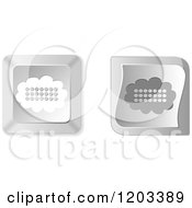 Clipart Of 3d Silver Cloud Keyboard Button Icons Royalty Free Vector Illustration