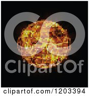 Clipart Of A Pixelated Flaming Fire Ball On Black Royalty Free Vector Illustration