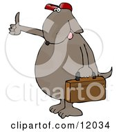 Brown Dog Hitchhiking And Carrying A Briefcase Cartoon Clipart