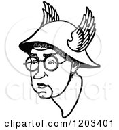 Cartoon Of A Vintage Black And White Caricature Of John Collings Squire Royalty Free Vector Clipart
