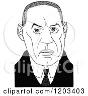 Cartoon Of A Vintage Black And White Caricature Of William Babington Maxwell Royalty Free Vector Clipart