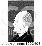Cartoon Of A Vintage Black And White Caricature Of John Galsworthy Royalty Free Vector Clipart