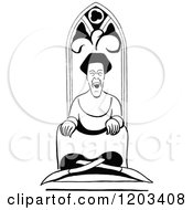 Cartoon Of A Vintage Black And White Caricature Of Kate Elinor Royalty Free Vector Clipart