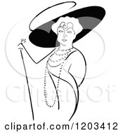 Cartoon Of A Vintage Black And White Caricature Of Lillian Russel Royalty Free Vector Clipart