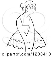 Cartoon Of A Vintage Black And White Caricature Of Yvette Guilbert Royalty Free Vector Clipart