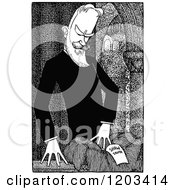 Cartoon Of A Vintage Black And White Caricature Of George Bernard Shaw Royalty Free Vector Clipart