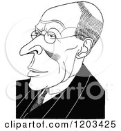 Cartoon Of A Vintage Black And White Caricature Of Charles Marriott Royalty Free Vector Clipart
