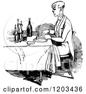 Vintage Black And White Man Dining Alone