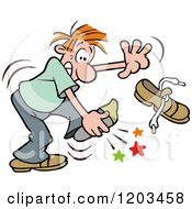 Cartoon Of A Red Haired Man Stabbing His Foot On Something In His Shoe Royalty Free Vector Clipart