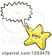 Cartoon Of A Starfish Speaking Royalty Free Vector Illustration