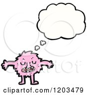 Cartoon Of A Pink Monster Thinking Royalty Free Vector Illustration