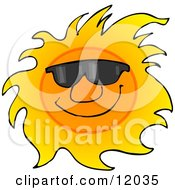 Happy Sun Wearing Shades Cartoon Clipart