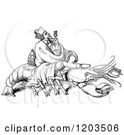 Clipart Of A Vintage Black And White Lobster And Men Royalty Free Vector Illustration by Prawny Vintage