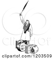 Cartoon Of A Vintage Black And White Woman Hollering Over Her Luggage Royalty Free Vector Clipart