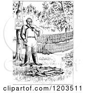 Cartoon Of A Vintage Black And White Man With His Fishing Pole And Trout Royalty Free Vector Clipart by Prawny Vintage