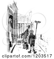 Clipart Of Vintage Black And White Gutter Snipes Royalty Free Vector Illustration
