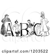 Clipart Of A Vintage Black And White Children Women And Abc Royalty Free Vector Illustration