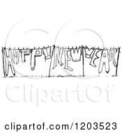 Clipart Of A Vintage Black And White Happy New Year Clothesline Royalty Free Vector Illustration