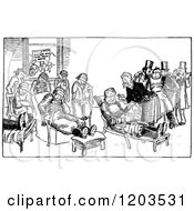 Clipart Of A Vintage Black And White Room Of Injured Men Royalty Free Vector Illustration