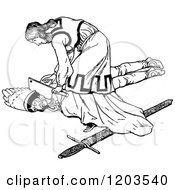 Clipart Of A Vintage Black And White Person Killing The Baddie Royalty Free Vector Illustration