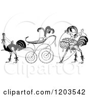 Clipart Of Vintage Black And White Ladies And Ostrich Royalty Free Vector Illustration