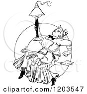Clipart Of A Vintage Black And White Lady With A Lamp Royalty Free Vector Illustration
