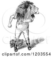Clipart Of A Vintage Black And White Lion Man Looking Back Royalty Free Vector Illustration