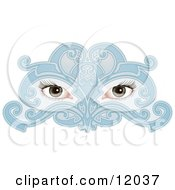 Womans Eyes Behind A Blue Face Mask Clipart Illustration by AtStockIllustration