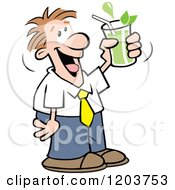 Cartoon Of A Happy Caucasian Man Drinking Green Tea Royalty Free Vector Clipart by Johnny Sajem