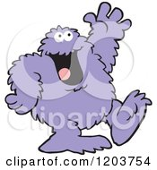 Cartoon Of A Friendly Purple Bigfoot Monster Waving Royalty Free Vector Clipart by Johnny Sajem