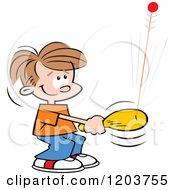 Cartoon Of A Happy Caucasian Boy Playing With A Bolo Bat Toy Royalty Free Vector Clipart by Johnny Sajem