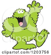 Cartoon Of A Friendly Green Bigfoot Monster Waving Royalty Free Vector Clipart by Johnny Sajem