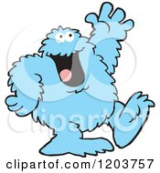 Cartoon Of A Friendly Blue Bigfoot Monster Waving Royalty Free Vector Clipart by Johnny Sajem