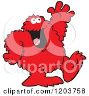 Cartoon Of A Friendly Red Bigfoot Monster Waving Royalty Free Vector Clipart by Johnny Sajem