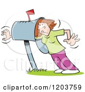 Cartoon Of A Caucasian Woman Reaching Beyond Her Mailbox In Hopes Of Correspondence Royalty Free Vector Clipart