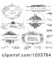 Clipart Of Sketched Black And White Swirl Wedding Frames And Designs Royalty Free Vector Illustration